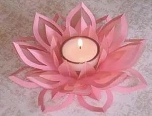 剪纸制作莲花烛台的方法