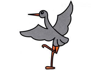 优雅站立的鹤简笔画的画法图片