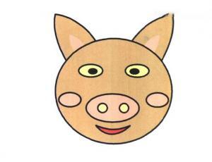 搞笑猪头简笔画的画法教程