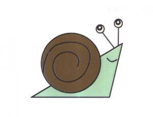彩色蜗牛简笔画的画法步骤图